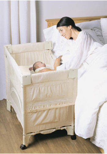 Example of a bedside crib for cosleeping
