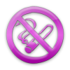 Pink no smoking sign