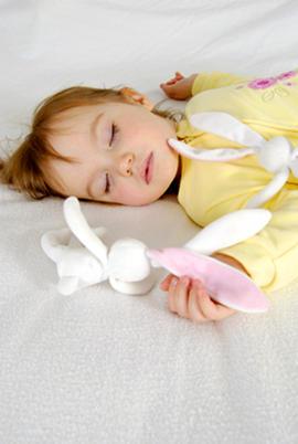 Toddler girl sleeping - cuddly toy