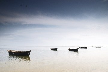 Relaxing Sea View with Fishing Boats