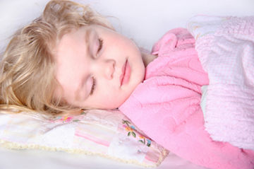 Toddler girl sleeping - in pink