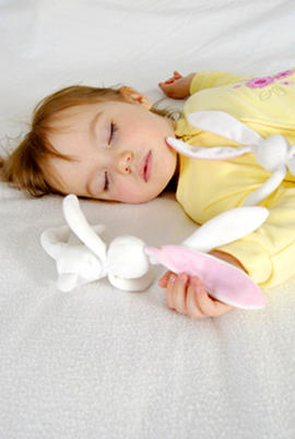 Toddler girl sleeping - cuddly toy