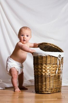 Baby in wet diaper